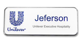 Prestige Premium name badges - Silver border and white background | www.namebadgesinternational.ae